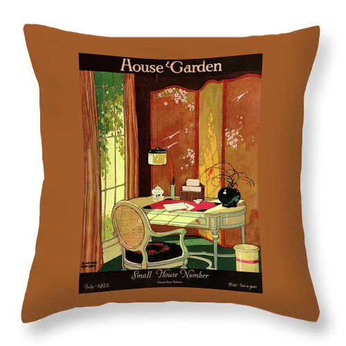 House And Garden Throw Pillow featuring the photograph House And Garden Small House Number by Clayton Knight