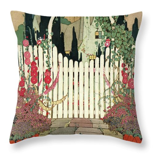 House And Garden Throw Pillow featuring the photograph House And Garden Small House Number by H. George Brandt