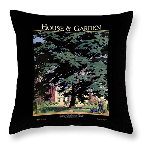 House And Garden Throw Pillow featuring the photograph House And Garden Spring Gardening Guide Cover by Pierre Brissaud