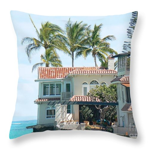Island Throw Pillow featuring the photograph House At Land's End by Dona Dugay