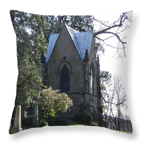 Cemetery Throw Pillow featuring the photograph House Of Corpses 2 by Heather L Wright