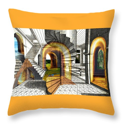 House Throw Pillow featuring the digital art House Of Dreams by Lisa Yount