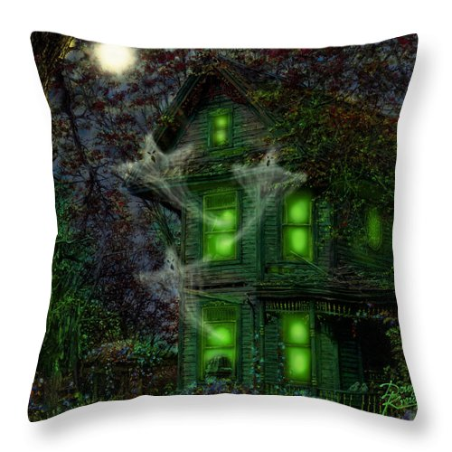 House On Haunted Hill By Doug Kreuger Throw Pillow featuring the painting House On Haunted Hill by Doug Kreuger