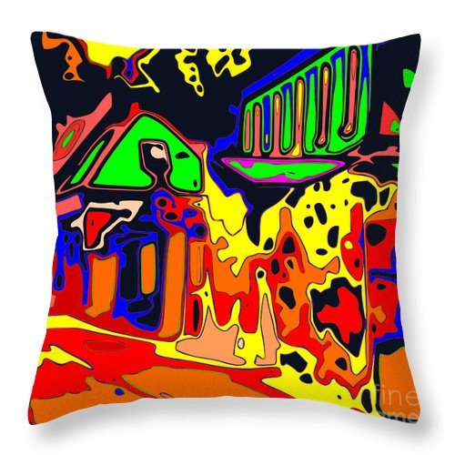Altered Photo Throw Pillow featuring the digital art House Party by Hugh Thompson