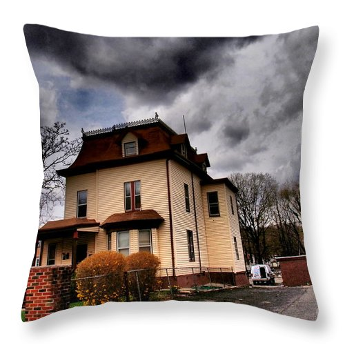 Haunted House Throw Pillow featuring the photograph House With Storm Approaching by Miriam Danar