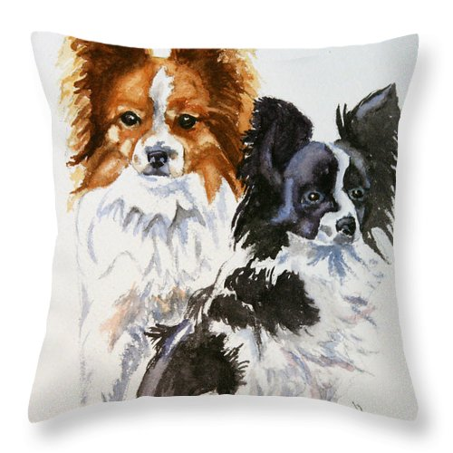 Animal Throw Pillow featuring the painting Housemates by Susan Herber