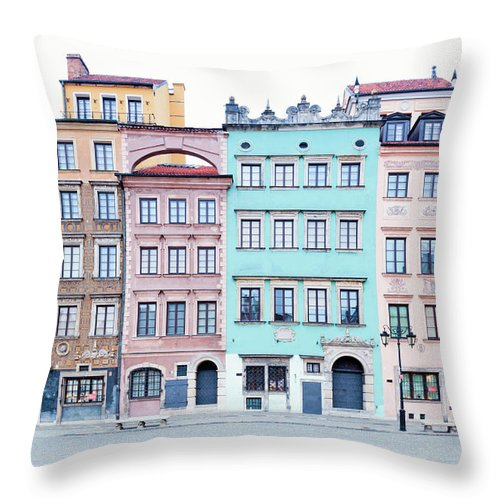 Apartment Throw Pillow featuring the photograph Houses On Old Town Market Place by Jorg Greuel