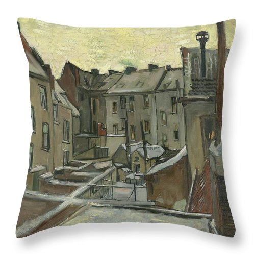 1885 Throw Pillow featuring the painting Houses Seen From The Back by Vincent van Gogh