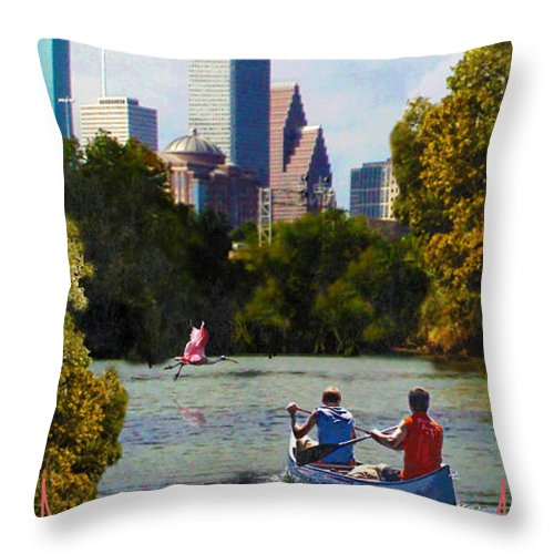 Houston Throw Pillow featuring the digital art Houston The Bayou City by Jim Sanders