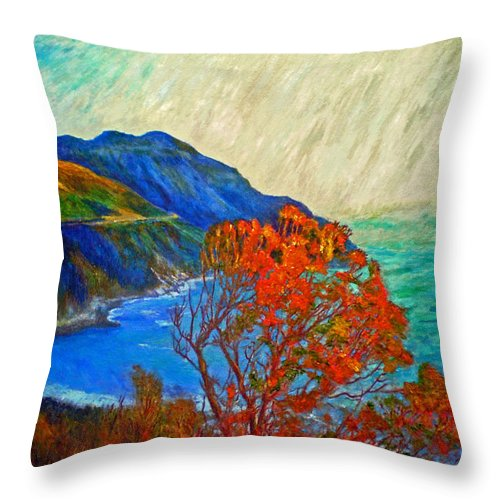 Seascape Throw Pillow featuring the painting Hout Bay by Michael Durst