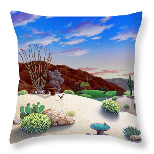 Desert Throw Pillow featuring the painting Howards Landscape by Snake Jagger