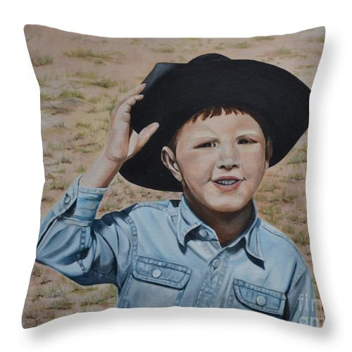 Usa Throw Pillow featuring the painting Howdy Ma'am by Mary Rogers