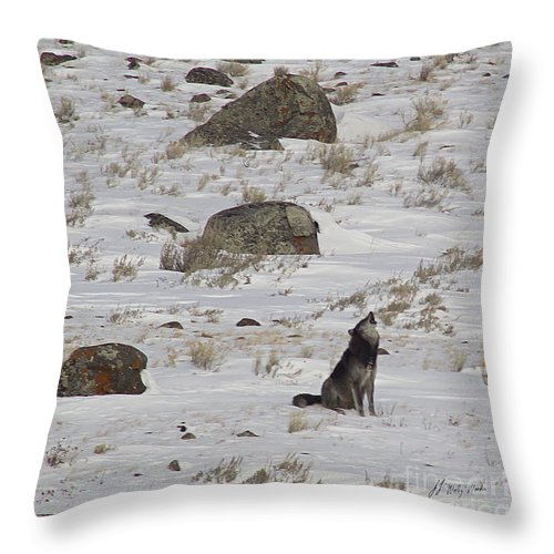 Wolf Throw Pillow featuring the photograph Howlin' In The New Year  #3536-signed by J L Woody Wooden
