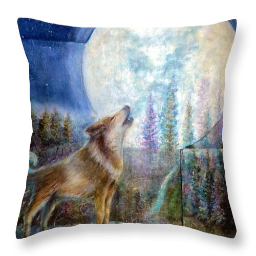 Wolf Throw Pillow featuring the painting Wolf Howling And Full Moon by Bernadette Krupa