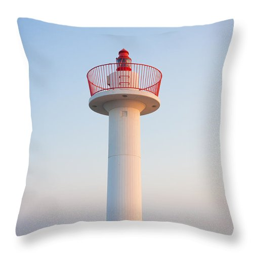 Blue Throw Pillow featuring the photograph Howth Lighthouse Beacon by Semmick Photo