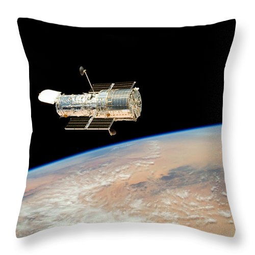 Hubble Throw Pillow featuring the photograph Hubble Telescope In Orbit Above Earth by Carl Deaville