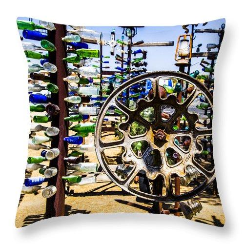 Bottleneck Ranch Throw Pillow featuring the photograph Hubcap by Angus Hooper Iii