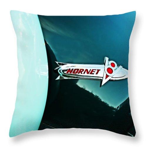 Hudson Hornet Throw Pillow featuring the photograph Hudson Hornet by Mary Machare