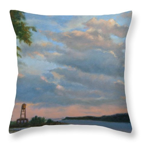 Hudson River Throw Pillow featuring the painting Hudson River Skyscape by Phyllis Tarlow