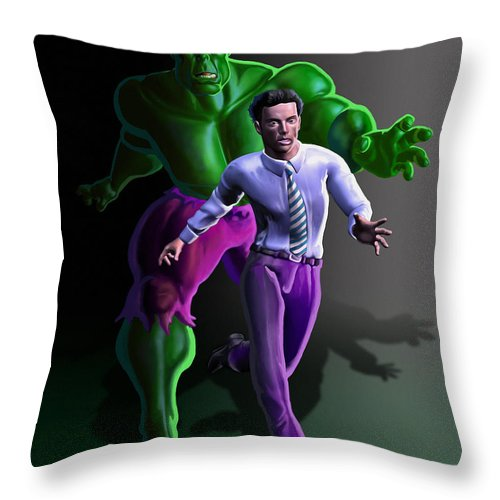 Incredible Hulk Throw Pillow featuring the painting Hulk - Bruce Alter Ego by Anthony Mwangi