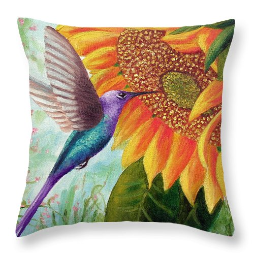 Hummingbird Throw Pillow featuring the painting Humming For Nectar by David G Paul