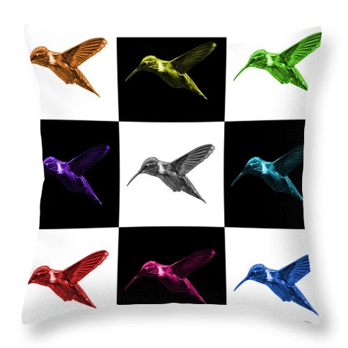 Hummingbird Throw Pillow featuring the digital art Hummingbird - 2054 F M - V2 by James Ahn