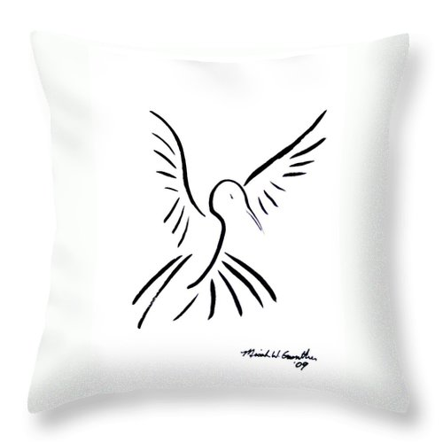 Bird Throw Pillow featuring the drawing Hummingbird by Micah Guenther