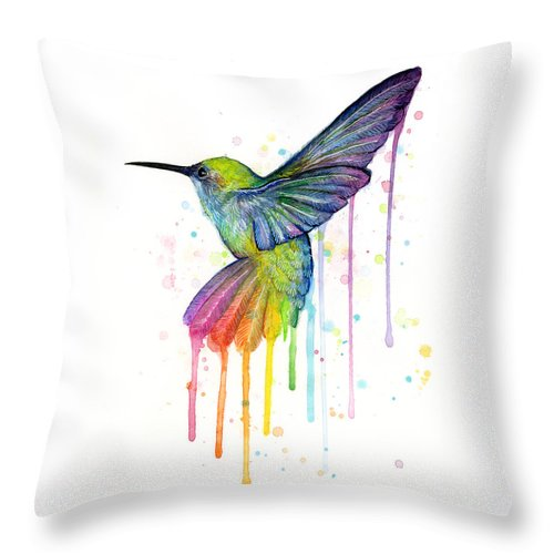 Hummingbird Throw Pillow featuring the painting Hummingbird of Watercolor Rainbow by Olga Shvartsur