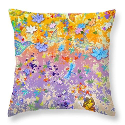 Hummingbirds Throw Pillow featuring the painting Hummingbird Spring by Teresa Ascone