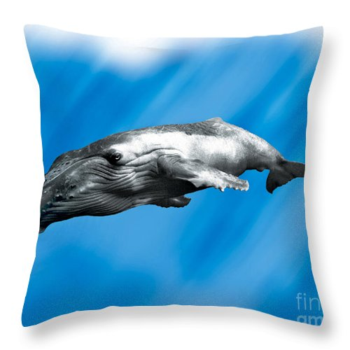 Whale Throw Pillow featuring the painting Humpback Whale by John Mabry