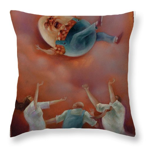 Humpty Dumpty Throw Pillow featuring the painting Humpty by Chris Van Es