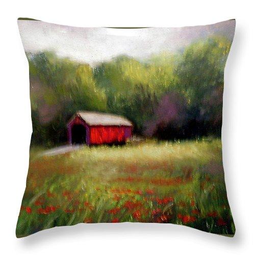 Covered Bridge Throw Pillow featuring the painting Hune Bridge by Gail Kirtz