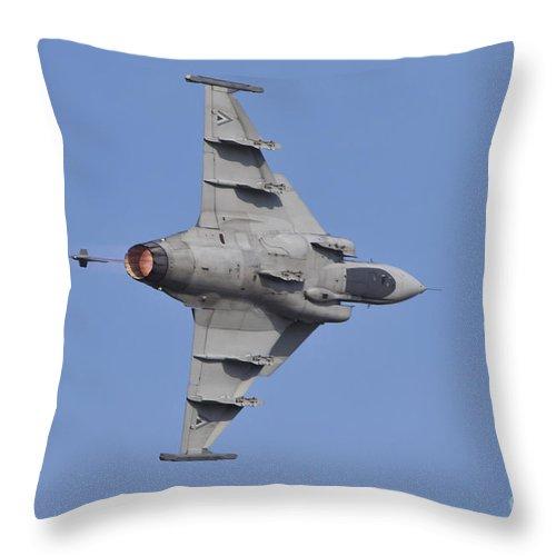 Czech Republic Throw Pillow featuring the photograph Hungarian Air Force Saab Jas-39 Gripen by Timm Ziegenthaler