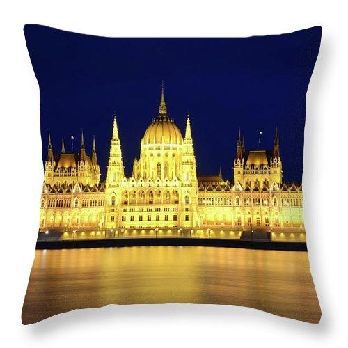 Hungarian Parliament Building Throw Pillow featuring the photograph Hungarian Parliament Building, Budapest by Dragos Cosmin Photos