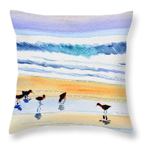 Bird Throw Pillow featuring the painting Hungry Birds by Patricia Novack