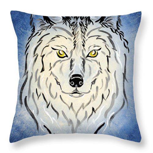 Wolf Throw Pillow featuring the painting Hungry Like The Wolf by Meganne Peck