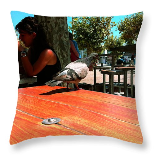 Cannes Throw Pillow featuring the photograph Hungry Pigeon At Mcdonalds by Yousif Hadaya