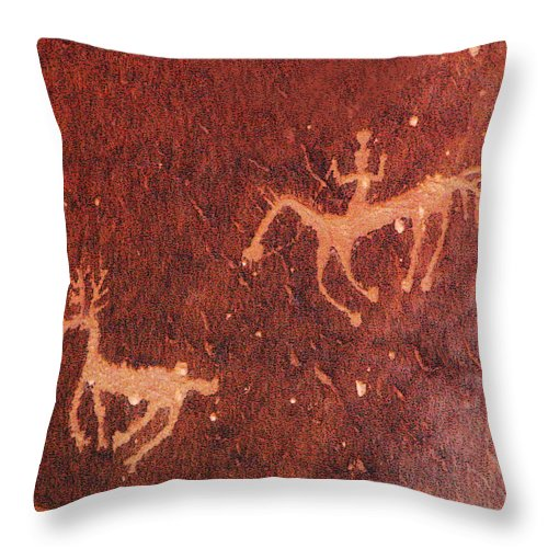 Petroglyph Throw Pillow featuring the photograph Hunter And The Hunted by Joe Kozlowski