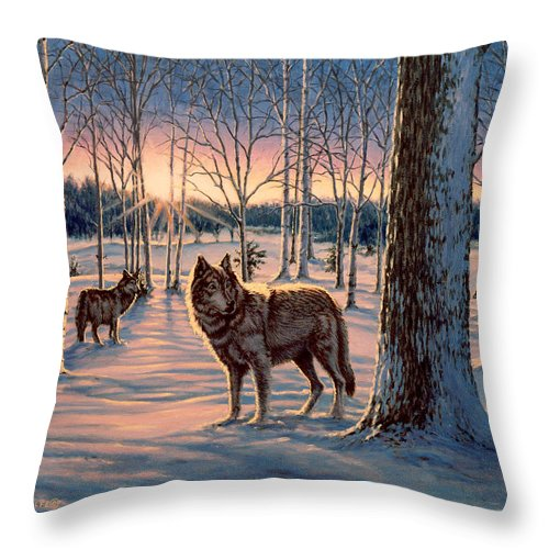 Wolf Throw Pillow featuring the painting Hunters at Twilight by Richard De Wolfe