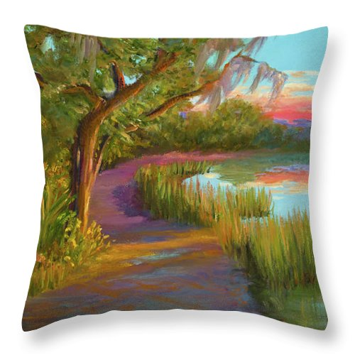 Coastal Marsh Creek Throw Pillow featuring the painting Hunting Island Sunset by Audrey McLeod
