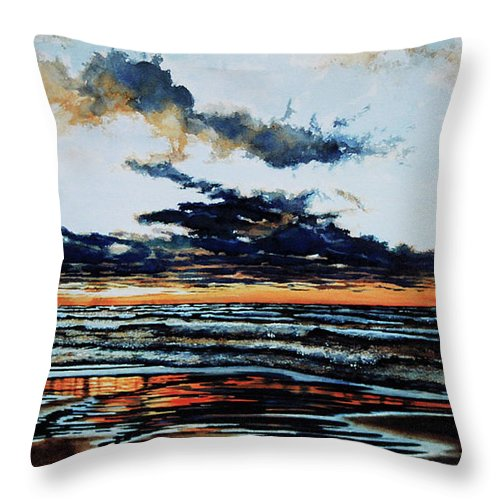 Lake Huron Throw Pillow featuring the painting Huron by Hanne Lore Koehler