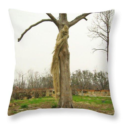 Hurricane Katrina Throw Pillow featuring the photograph Hurricane Katrina Resurrection Tree by Rebecca Korpita