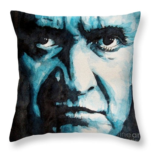 Johnny Cash Throw Pillow featuring the painting Hurt by Paul Lovering