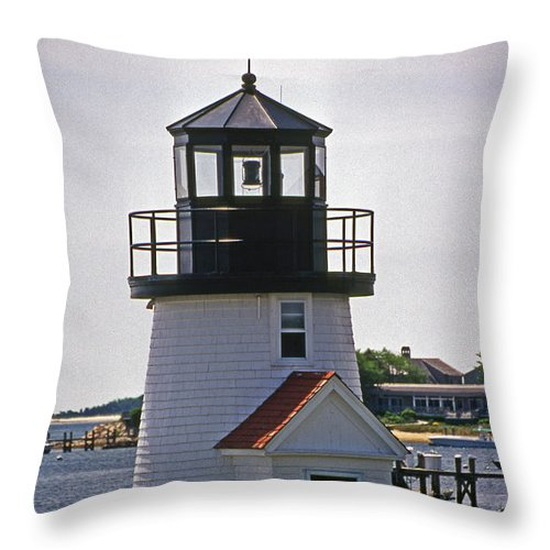 Lighthouses Throw Pillow featuring the photograph Hyannis Harbor Replica by Skip Willits