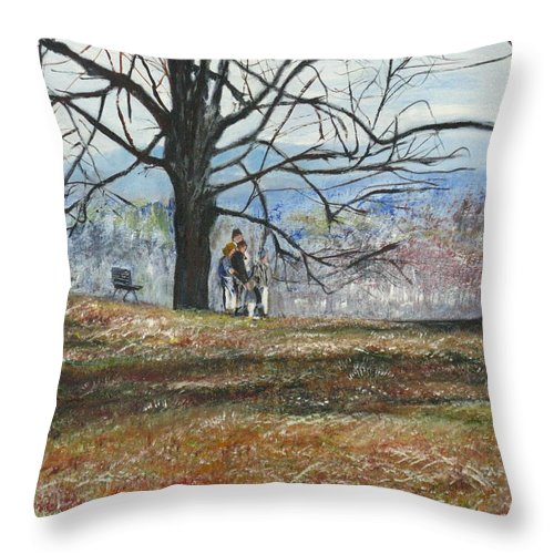 Landscapes Throw Pillow featuring the painting Hyde Park Ny by Michael Anthony Edwards