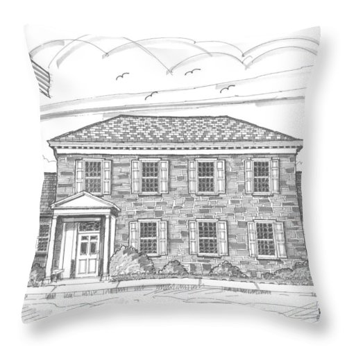 Hyde Park Throw Pillow featuring the drawing Hyde Park Post Office by Richard Wambach