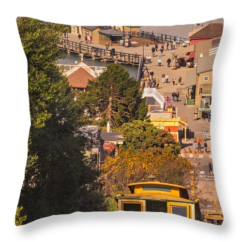 San Francisco Throw Pillow featuring the photograph Hyde Street Cable Car by Jerry Fornarotto