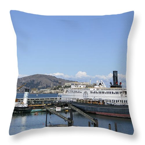 hyde St. Pier Throw Pillow featuring the photograph Hyde Street Pier - San Francisco by Daniel Hagerman