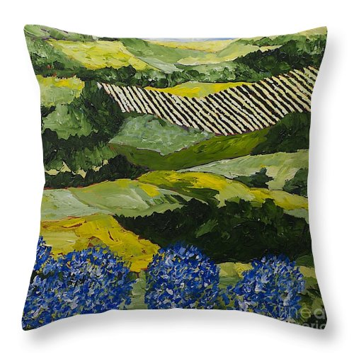 Landscape Throw Pillow featuring the painting Hydrangea Valley by Allan P Friedlander