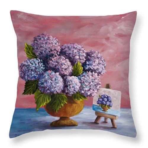 Hydrangea Throw Pillow featuring the painting Hydrangeas From My Garden by Darice Machel McGuire
